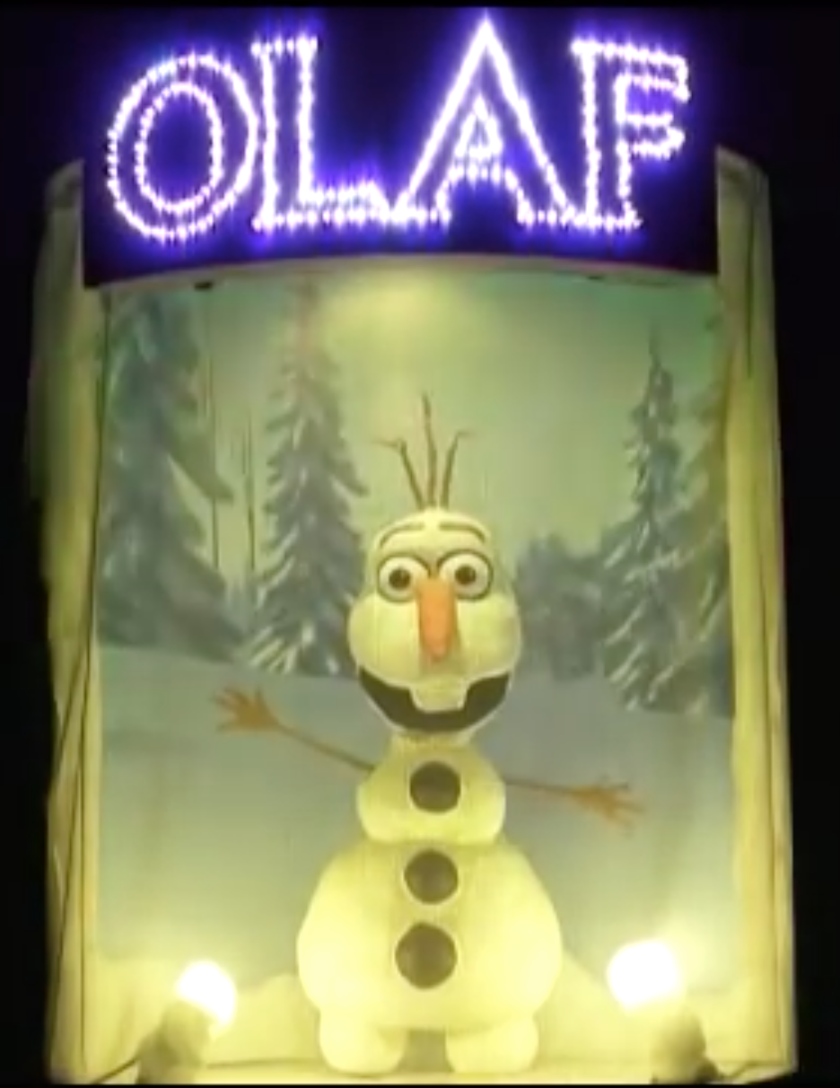 Animatronic olaf frozen in summer